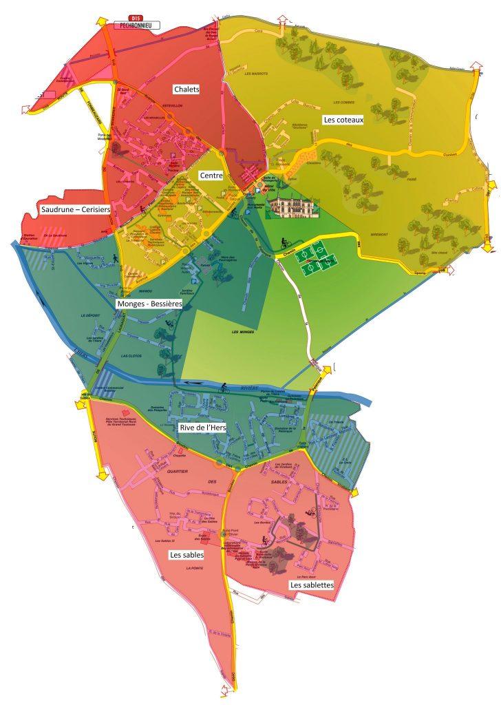 plan quartiers Launaguet