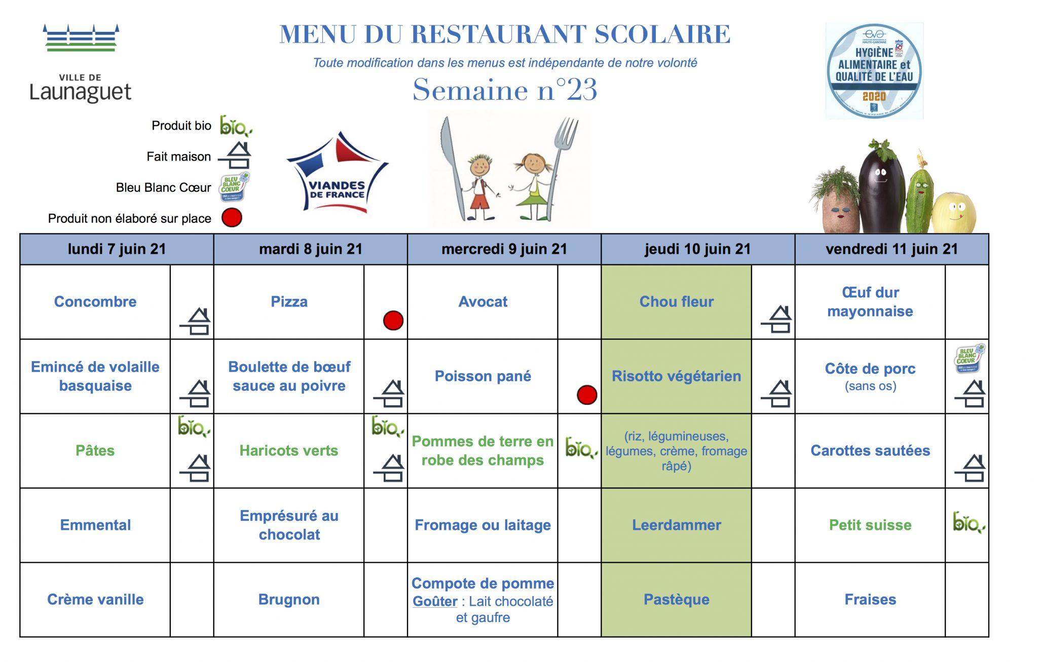 menus Launaguet semaine 23